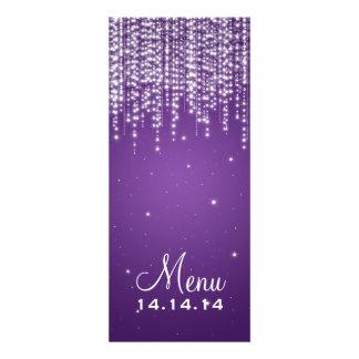 Elegant Wedding Menu Night Dazzle Purple Custom Invitations