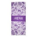"Elegant Wedding Menu  Paisley Pattern Purple 4"" X 9.25"" Invitation Card"