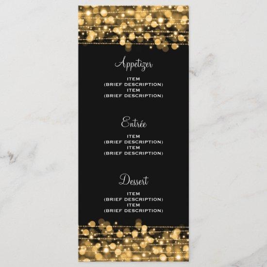Elegant Wedding Menu Party Sparkles Gold