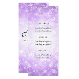 Elegant Wedding Menu Purple Winter Wonderland Card