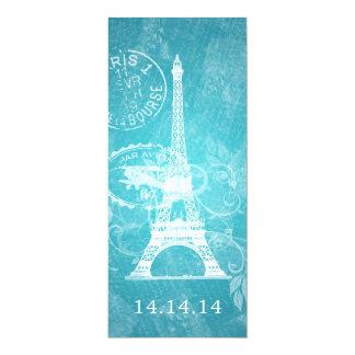 Elegant Wedding Menu Romantic Paris Blue 4x9.25 Paper Invitation Card