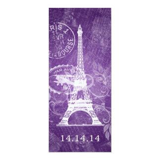 Elegant Wedding Menu Romantic Paris Purple Card