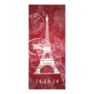 Elegant Wedding Menu Romantic Paris Red 4x9.25 Paper Invitation Card