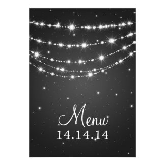 Elegant Wedding Menu Sparkling Chain Black Invitations