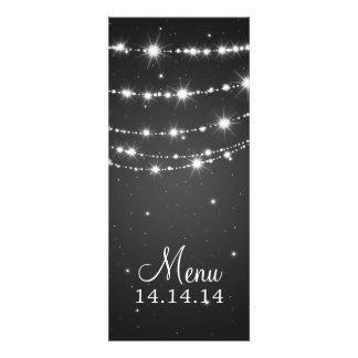Elegant Wedding Menu Sparkling Chain Black Custom Invites