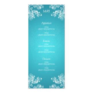 Elegant Wedding Menu Vintage Swirls 2 Turquoise Card