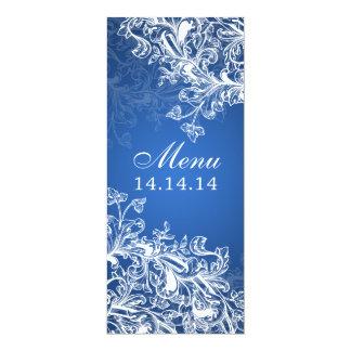Elegant Wedding Menu Vintage Swirls Blue 4x9.25 Paper Invitation Card