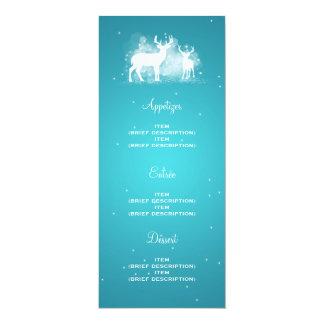 Elegant Wedding Menu Winter Deer Sparkle Turquoise Card