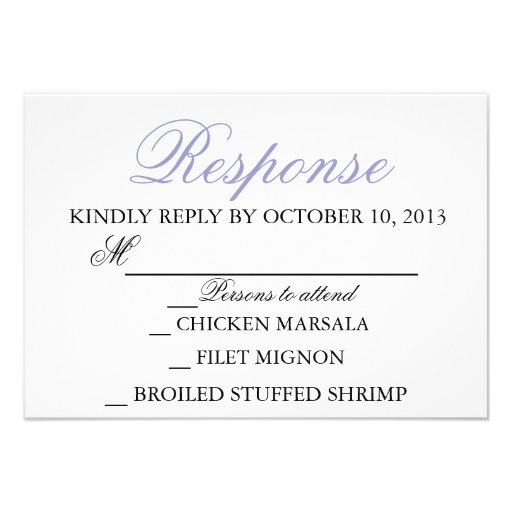 Elegant Wedding Modern Invitation Response Card (front side)
