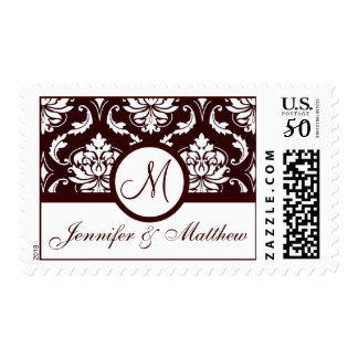 Elegant Wedding Monogram Brown Damask White Stamp