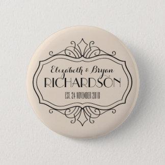 Elegant Wedding Monogram Choose Your Own Color Hue Pinback Button