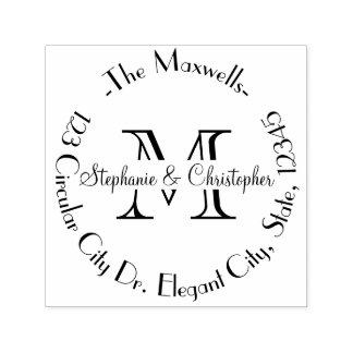 Elegant Wedding Monogram Letter Address Stamp