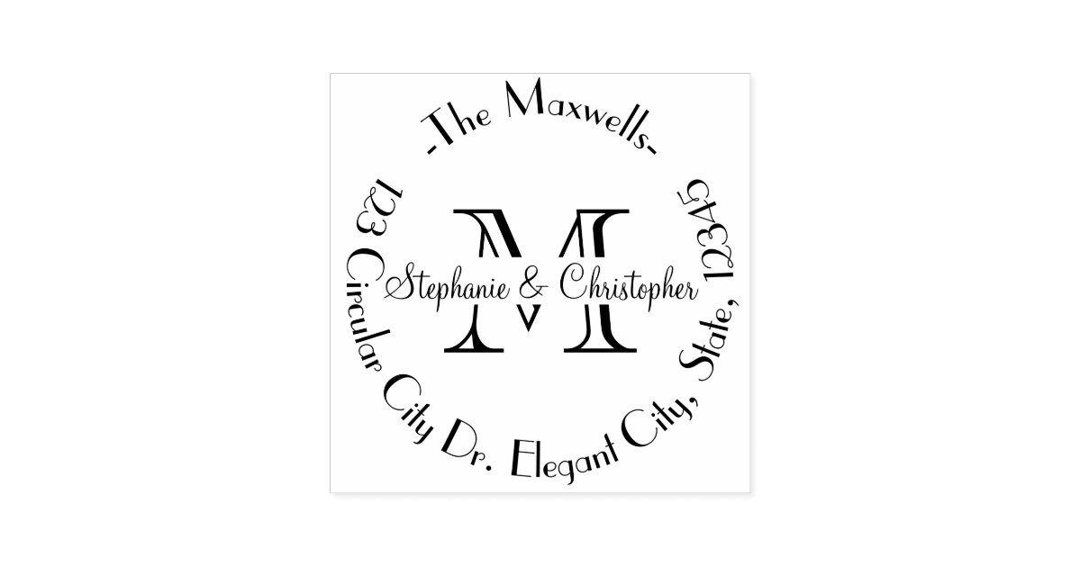 elegant wedding monogram letter address stamp zazzlecom