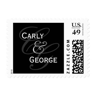 Elegant Wedding Monogram Names Black White Postage