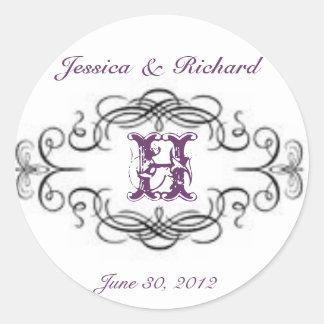 Elegant Wedding Monogram Sticker