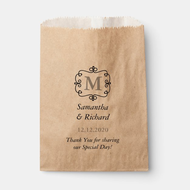 Elegant Wedding Monogram Thank You Favor Bag
