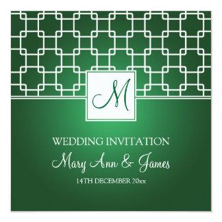 Elegant Wedding Monogram Trellis Pattern Green Card