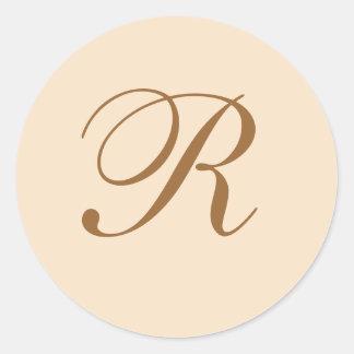 Elegant Wedding Monogrammed Classic Round Sticker