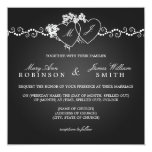Elegant Wedding Monogrammed Hearts Black Card