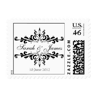 Elegant Wedding Names Date Postage Stamp