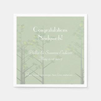 Elegant Wedding Newlyweds Sage Green Tree Art Paper Napkin