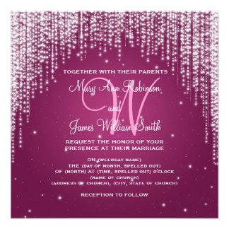 Elegant Wedding Night Dazzle Berry Pink Custom Invites