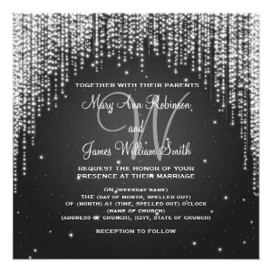 Elegant Wedding Night Dazzle Black Announcements