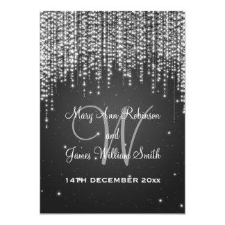 Elegant Wedding Night Dazzle Black Personalized Announcements