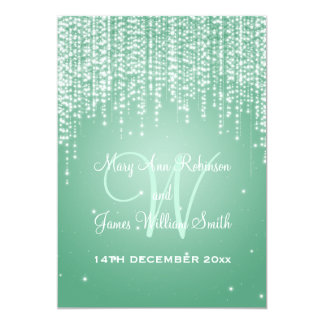 Elegant Wedding Night Dazzle Mint Green Card