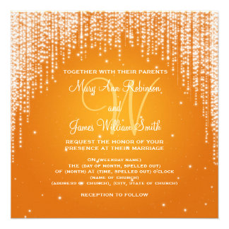 Elegant Wedding Night Dazzle Orange Invitation