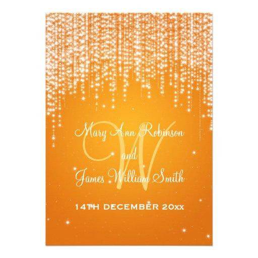 Elegant Wedding Night Dazzle Orange Invitations