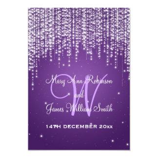 Elegant Wedding Night Dazzle Purple 5x7 Paper Invitation Card