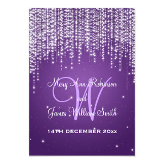 Elegant Wedding Night Dazzle Purple Card