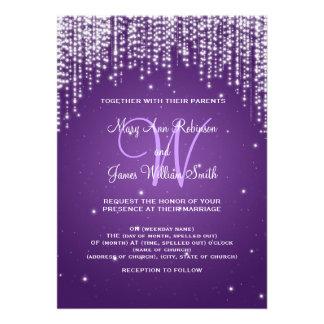 Elegant Wedding Night Dazzle Purple Cards
