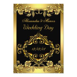 "Elegant Wedding Ornate Floral Black Gold 4.5"" X 6.25"" Invitation Card"