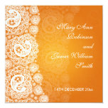 Elegant Wedding Paisley Lace Orange Card