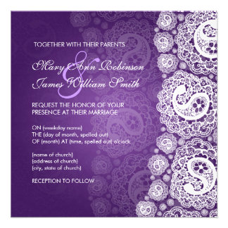 Elegant Wedding Paisley Lace Purple Invite