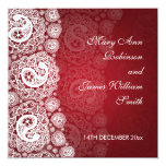 Elegant Wedding Paisley Lace Red Card