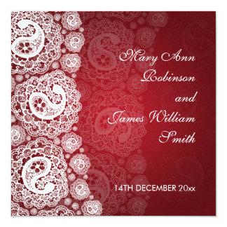 Elegant Wedding Paisley Lace Red Card