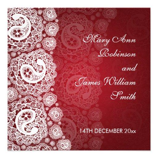 Elegant Wedding Paisley Lace Red Invite