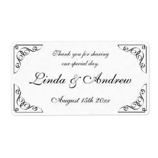 Elegant wedding party favor water bottle labels