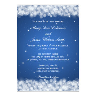Elegant Wedding Party Sparkle Blue Card