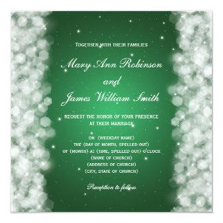 Elegant Wedding Party Sparkle Emerald Green Card