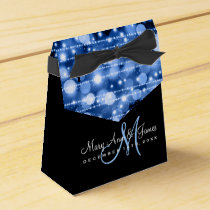 Elegant Wedding Party Sparkles Blue Favor Box
