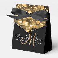 Elegant Wedding Party Sparkles Gold Favor Boxes