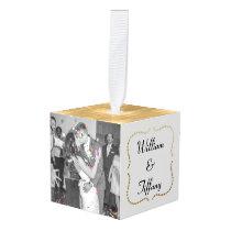 Elegant Wedding Photo Cube Ornament