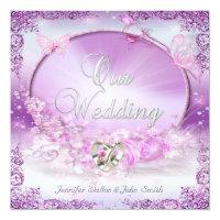 Elegant Wedding Pink Lilac Rings Butterfly Card (<em>$2.31</em>)