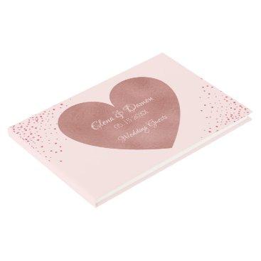 Bride Themed Elegant Wedding   Pink Rose Gold Heart Confetti Guest Book