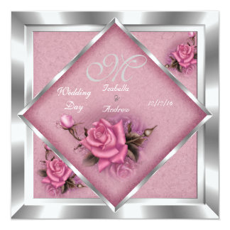 Elegant Wedding Pink Rose Silver Bouquet Card