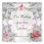 Elegant Wedding Pink Rose Silver White Custom Invitations